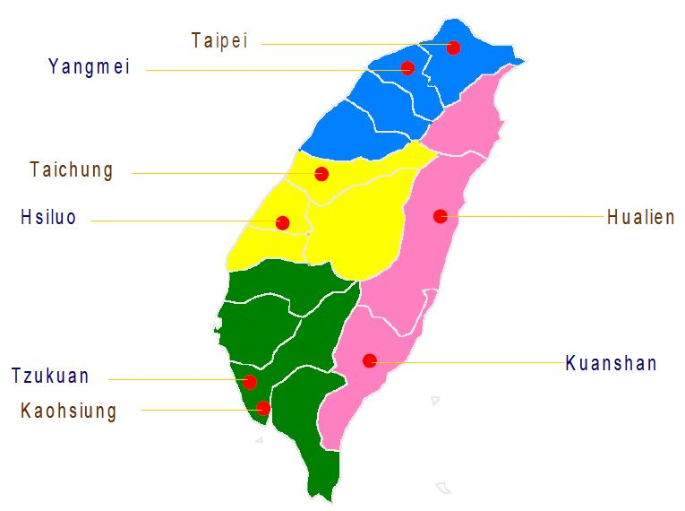 Figure 23 Sampling Areas of 2003/2004 TDS in Taiwan