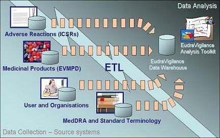 EudraVigilance 데이터 분석 시스템의 구성요소.