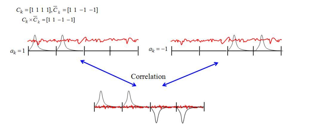 참조 신호와 데이터 신호의 correlation