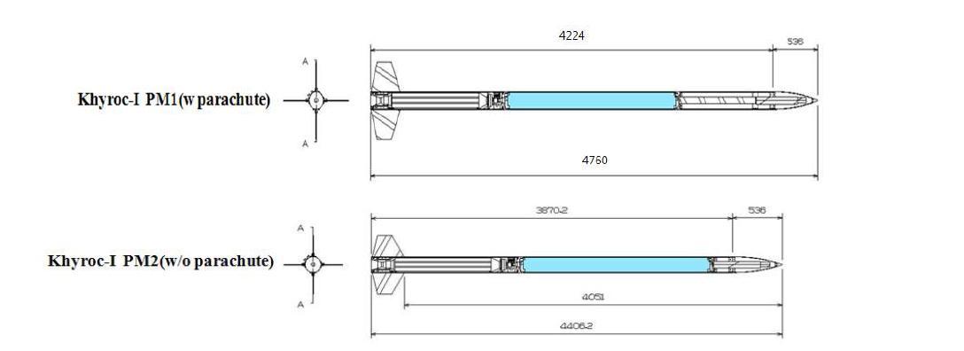추력 1 ton 급 하이브리드 비행체 설계도(위 : 회수부 포함 비행체, 아래 : 회수부 미포함 비행체)