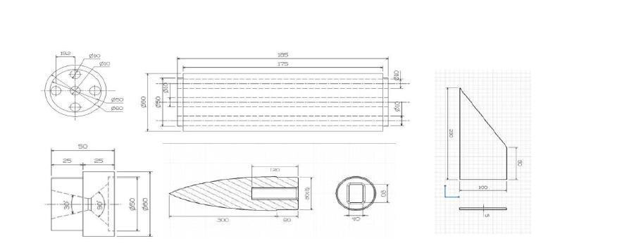 축소형 하이브리드 로켓 부품 도면 (위로부터 시계방향 : 연료 그레인, 핀, 노즈콘, 노즐)