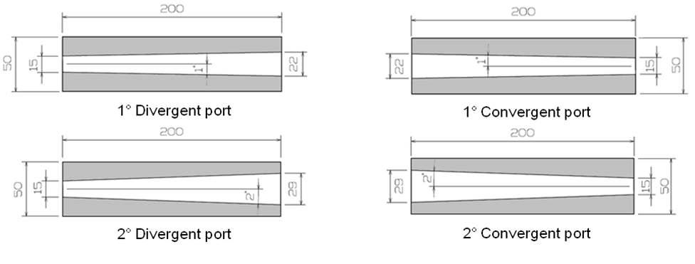 Transversal View of Tapered Fuel Grain with Tapered Angle 1˚ and 2˚