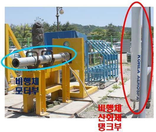 추력 1 ton 급 로켓 추진체 지상연소시험 (수직형 스탠드)