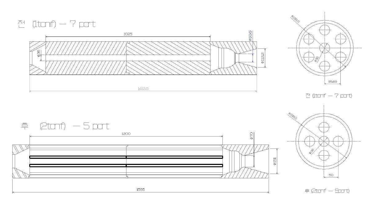 Large-scale(1, 2 ton 급) 하이브리드 추진체 모터 형상