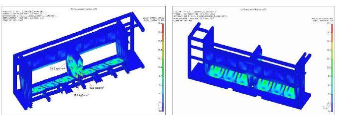 그림 3-43 호퍼형 일관수송용기의 응력분포 (Load case 1)