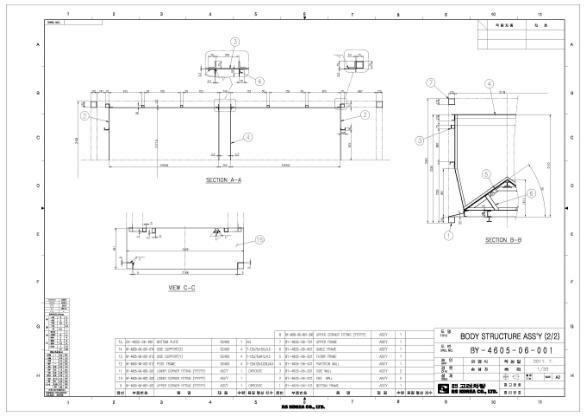 그림 3-47 호퍼형 일관수송용기 차체 상세설계안 (BODY STRUCTURE ASS'Y 2)