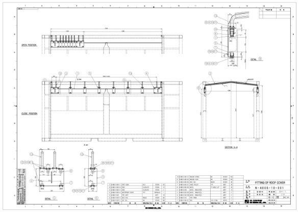 그림 3-49 호퍼형 일관수송용기 덮개장치 상세설계안