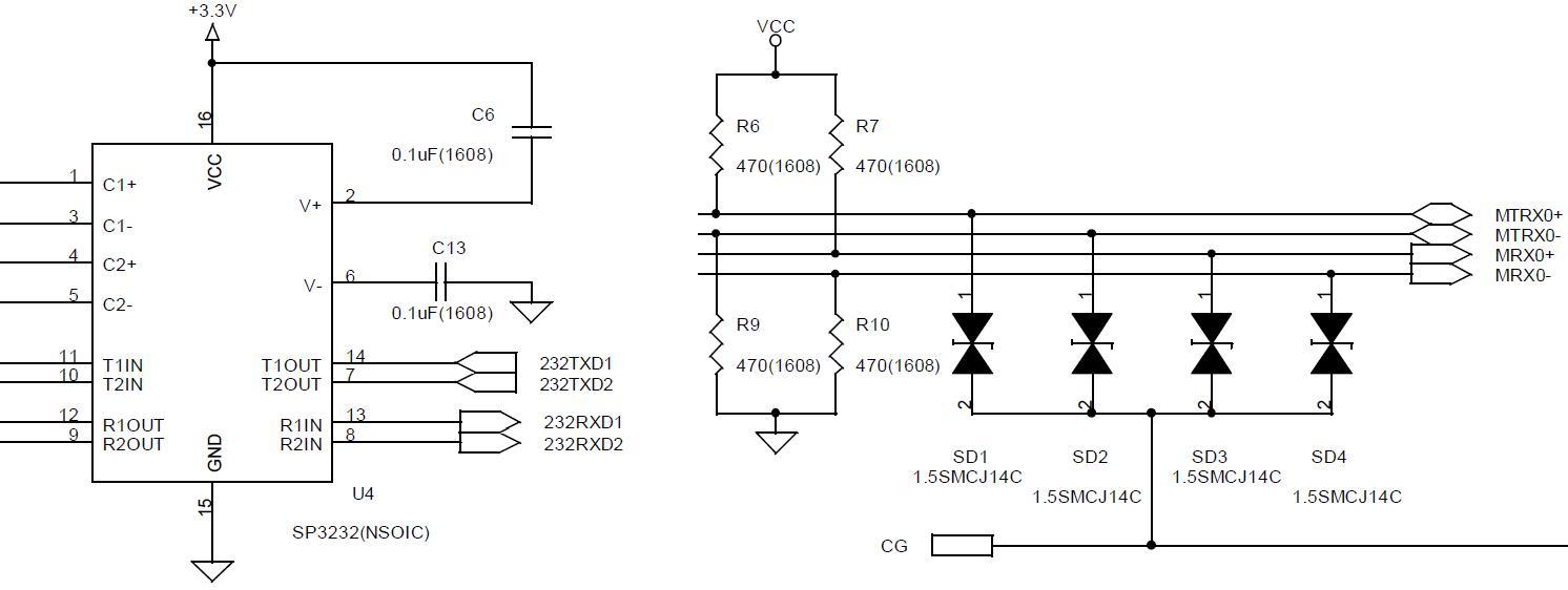 통신 Port 회로부 (RS232C / RS422)