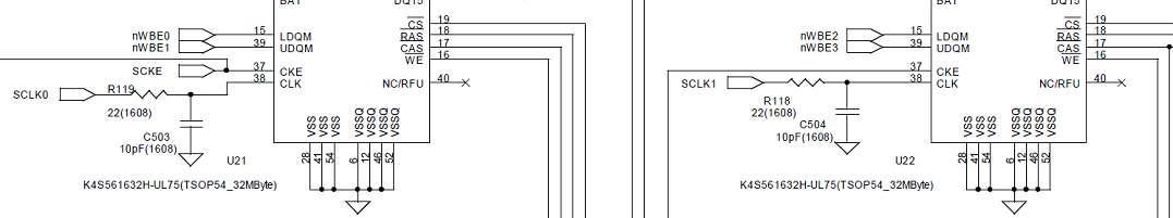 SDRAM 클럭 회로부 Bypass Capacitor 적용