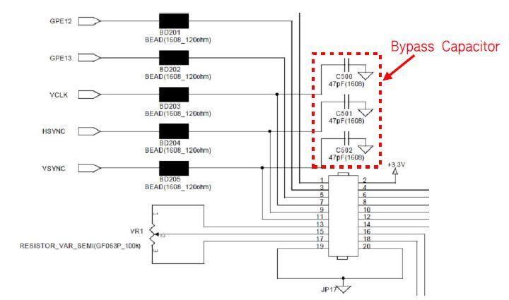 LCD 클럭 회로부 Bypass Capacitor 적용