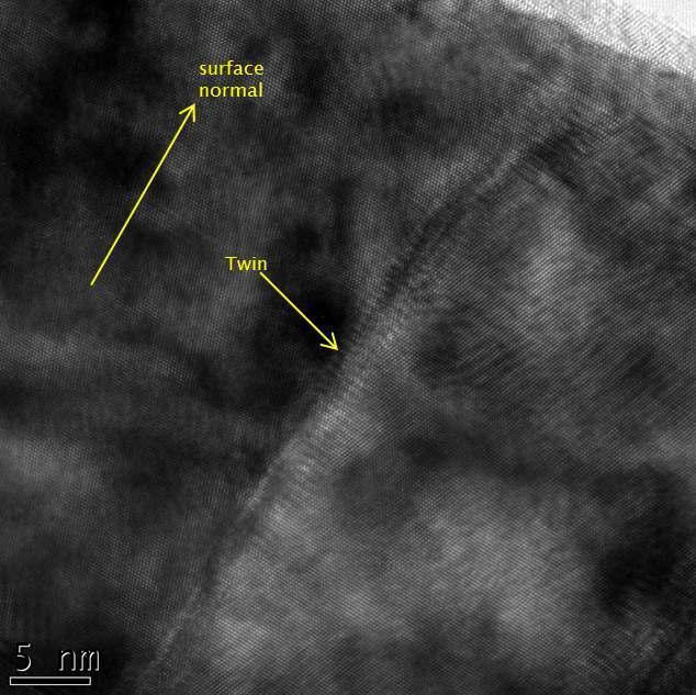 니켈막 내부의 쌍정경계면을 보여주는 TEM 고분해능 이미지