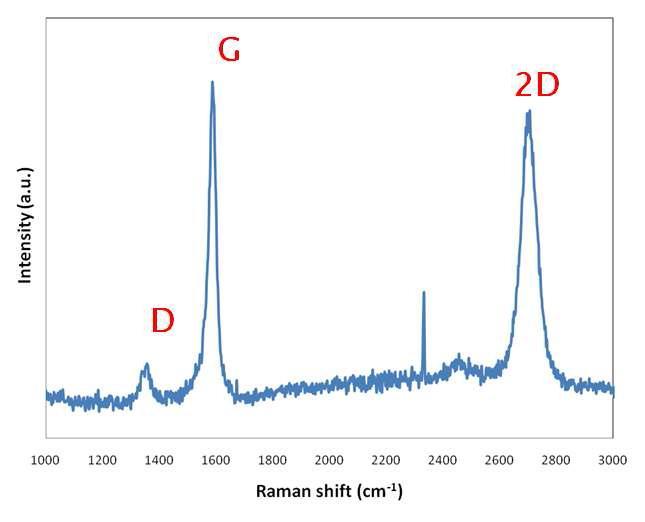 그림 20의 시편에서 FLG가 성장된 부위에서의 라만 스펙트럼
