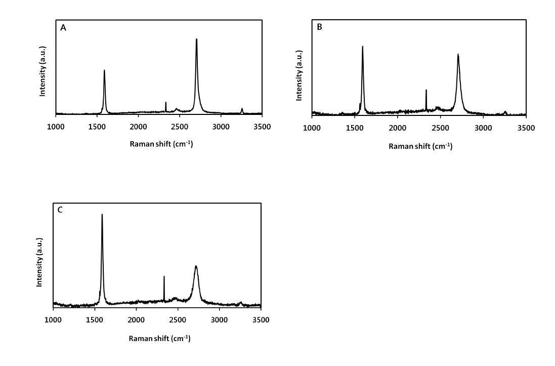 그림 22의 A, B, C 부위에서 분석한 라만 스펙트럼