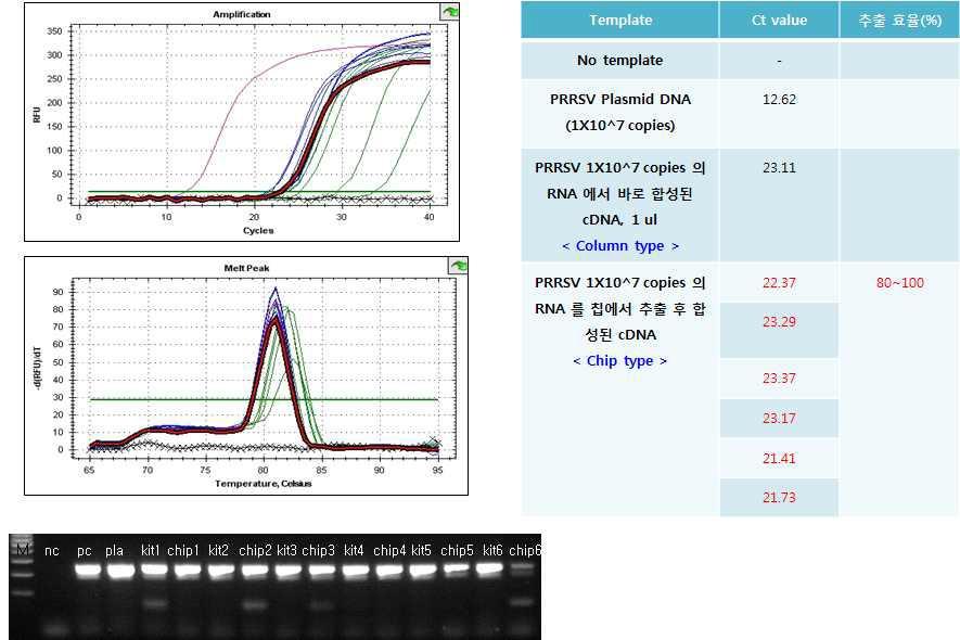 타사 column과 나노바이오시스(주) 유전자 분리 칩의 추출 효율 결과