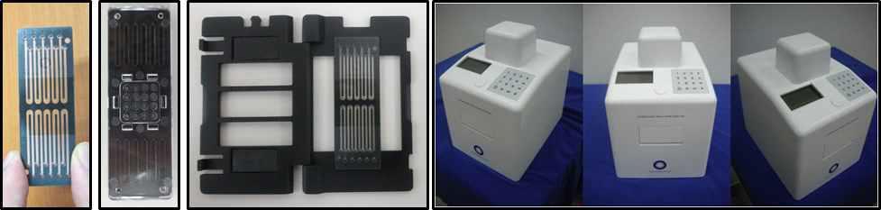 10채널 및 16 uWell 신속 실시간 유전자 정량 분석 칩 및 장치