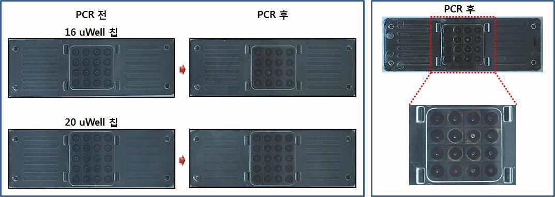 16 uWell 칩과 20 uWell칩의 PCR 후 누수 결과 사진