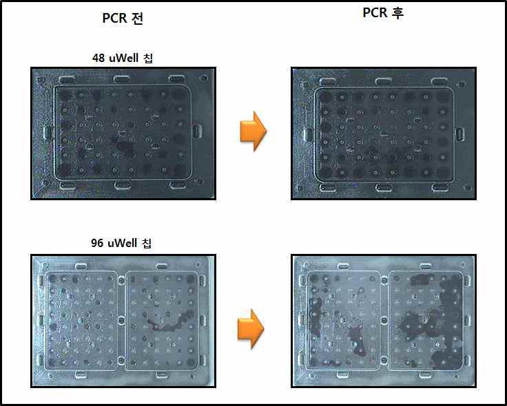 48 uWell 칩과 96 uWell칩의 1차 내구성 결과