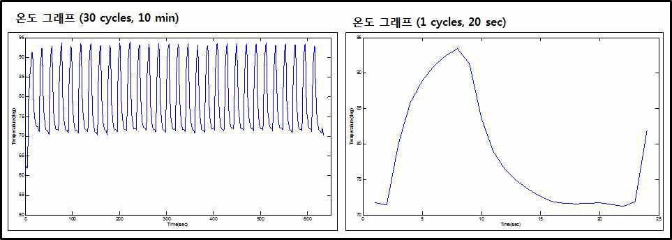 PCR 구동 시간 (30 cycles , 1 cycle) 결과