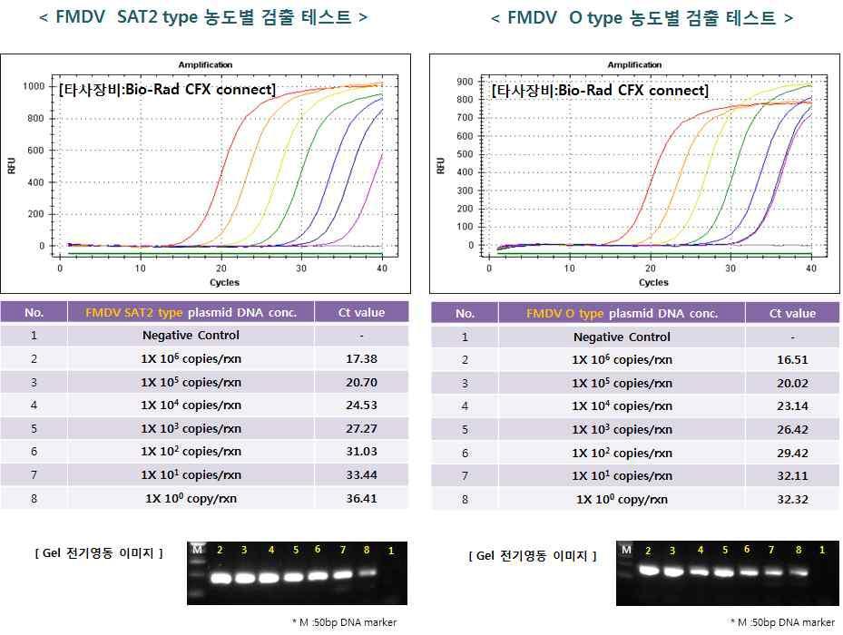 타사 장비에서의 SAT 2, O 타입의 농도별 검출 테스트 결과