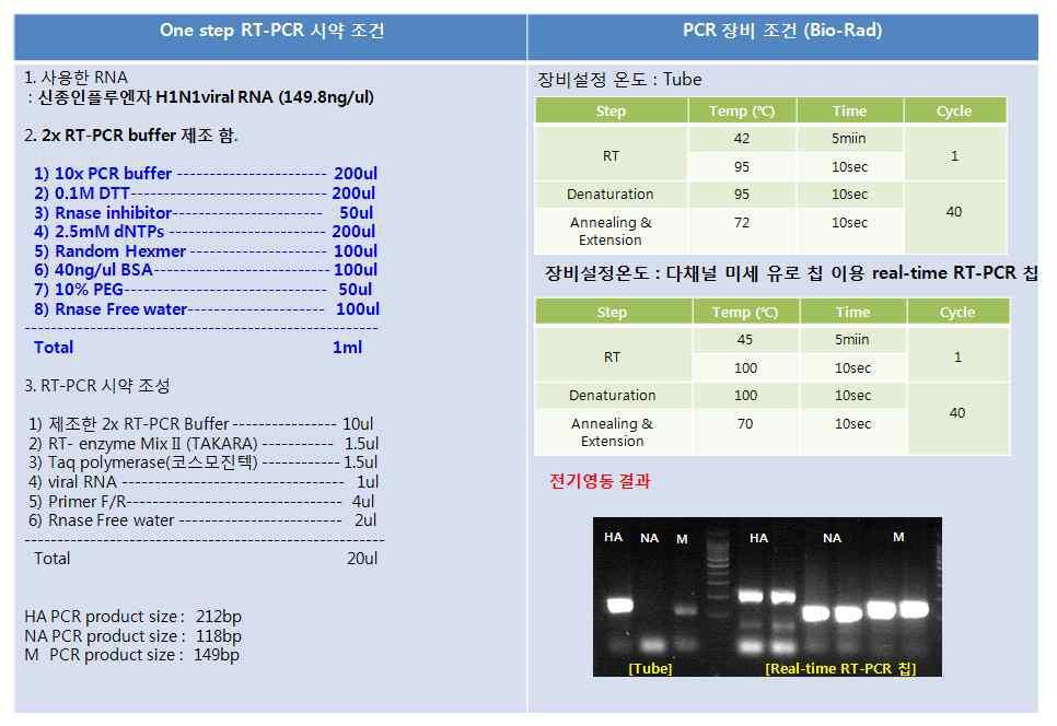 튜브와 Real-time RT-PCR 칩에서 2x RT-PCR 제조 One-step RT-PCR 결과
