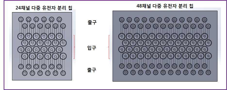 24채널, 48채널 다중 유전자 분리 칩 설계