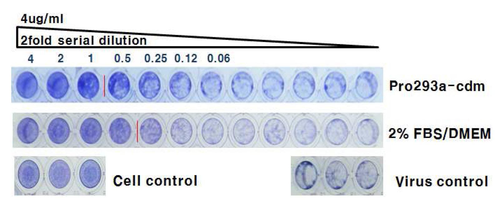 그림 62. Pro293a-cdm 배지와 2% FBS/DMEM 배지의 HzVSF 활성 비교
