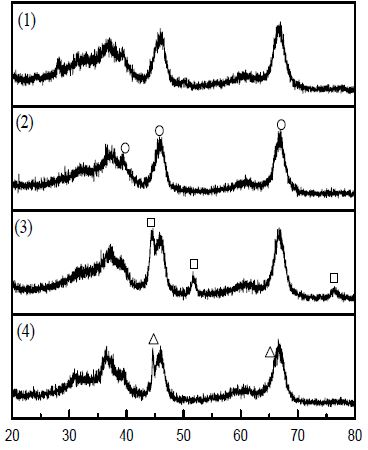 Al2O3, Platinum, Nickel, Iron catalyst의 XRD patterns