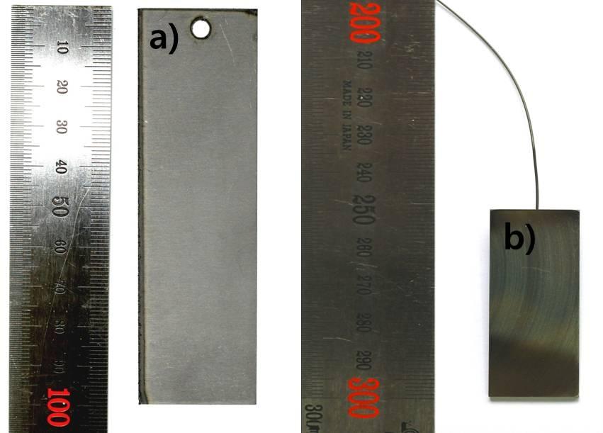정전류 및 전착실험을 구성하는 전극 a) Tantalum plate b) SUS316L