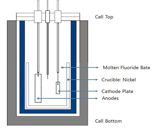 용융염 전기도금(Molten Salt Electrodeposition :MSE)장치의 모식도