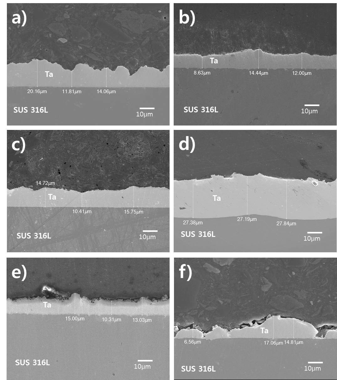 전류 밀도 변화에 따른 코팅 피막의 단면 SEM 분석