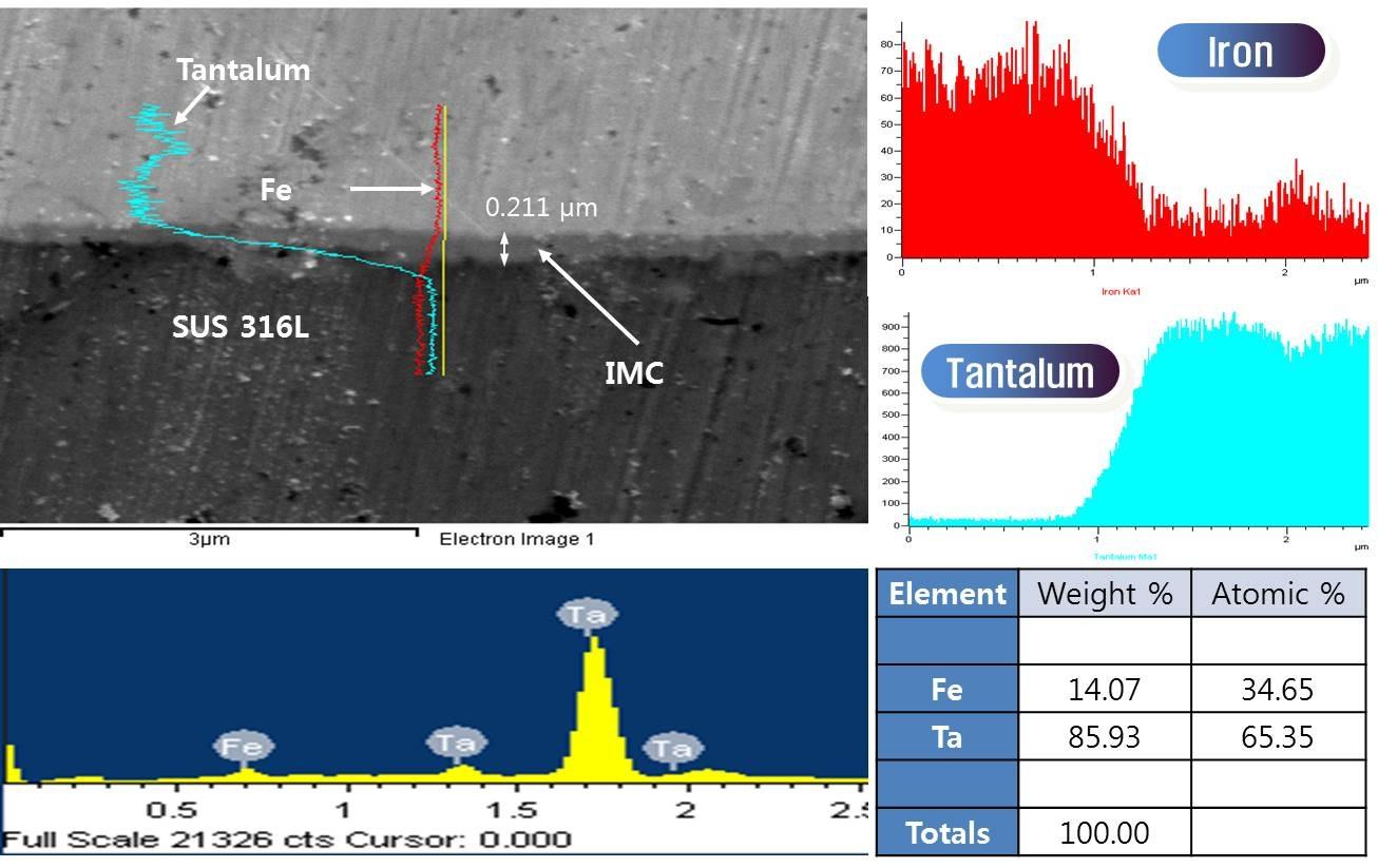 전류 밀도 2 mA/cm2 조건에서 형성된 금속간화합물 층의 EDS 분석