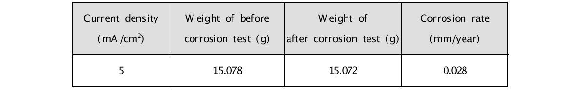 전류 밀도 5 mA/cm2 조건에서의 부식 시험 결과