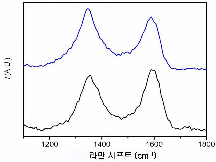탄소섬유의 라만 스펙트럼