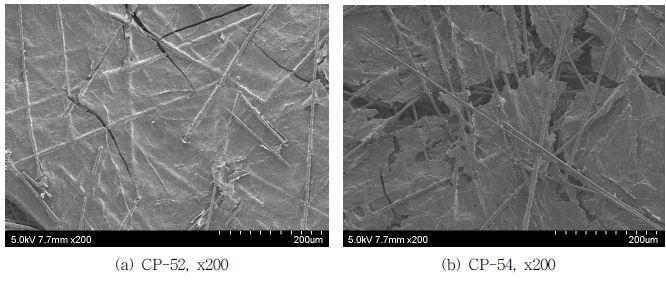 흑연분말 함유 후 응집시켜 초지한 탄소섬유 웹의 표면사진