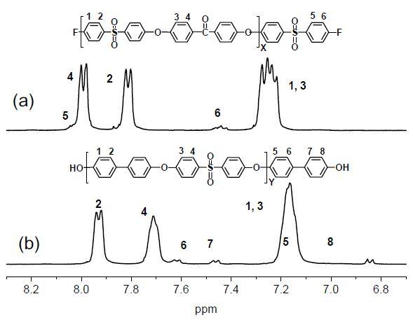 (a) 소수성 (b) 친수성 올리고머 전구체의 1H NMR의 분석 결과