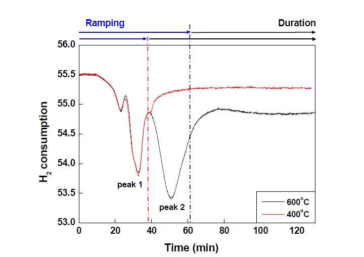 온도를 400℃ 및 600℃으로 고정시킨 상태에서 얻은 Co/C의 TPR profile
