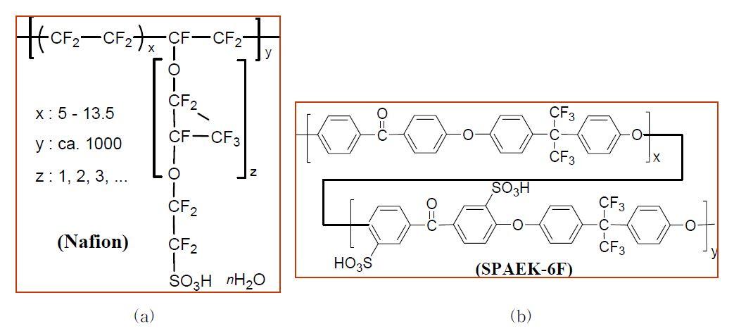 (a) 나피온 및 (b) 술폰화 폴리아릴에테르케톤 고분자의 화학적 구조.