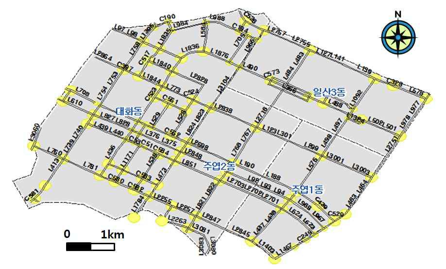 경기도 고양시 일산서구 시내부 네트워크 재분할 및 ID 부여