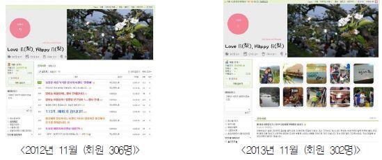 """배 신품종 소비자 서포터즈가 운영한 """"Love li Happy li"""" 카페 main 화면"""