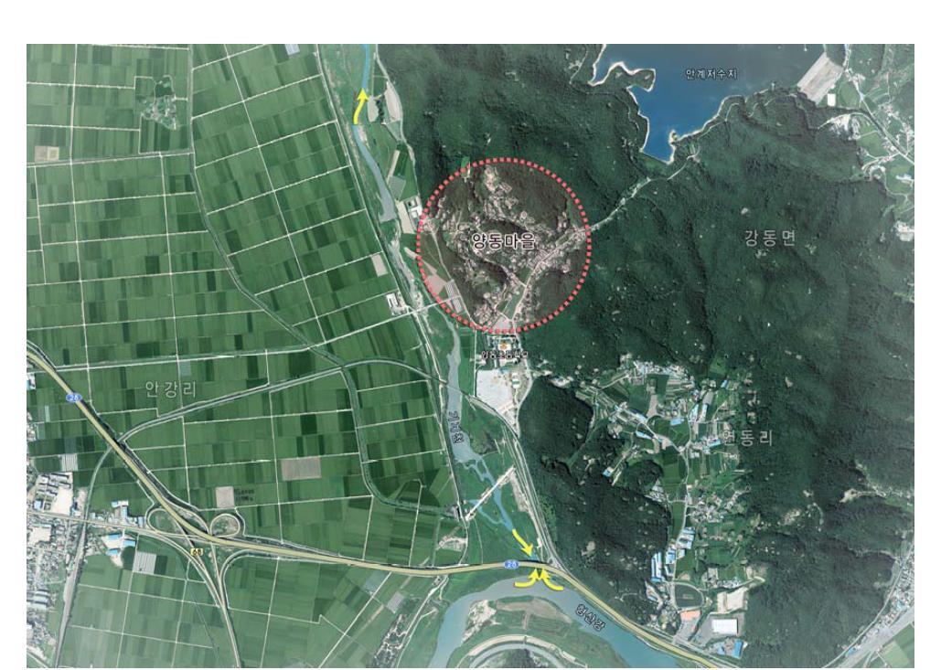 경주 양동마을 위치도(Location of Yangdong village)『양동마을보존관리정비계획(2013)』