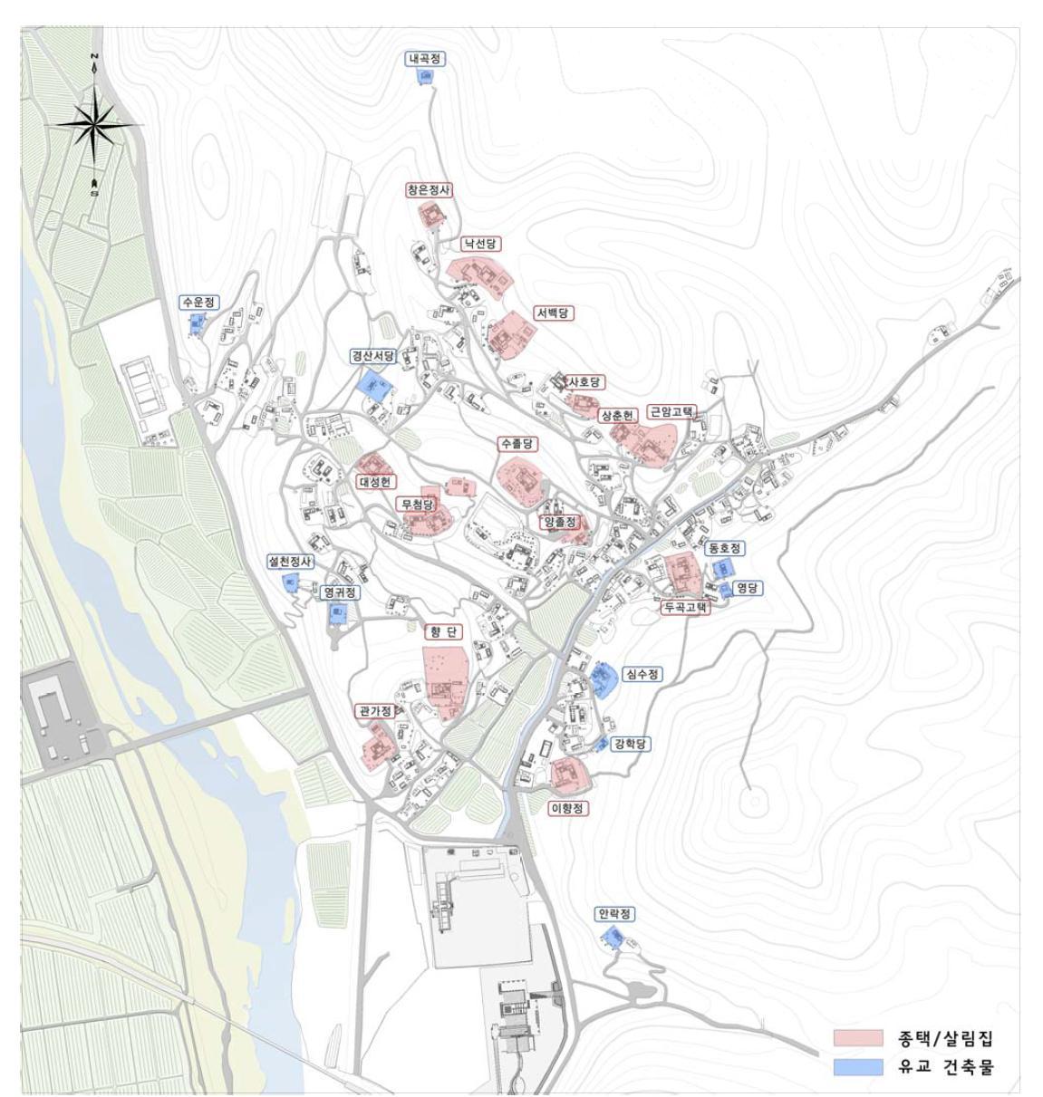 양동마을의 주택과 유교건축물(location of houses and confucian buildings in Yangdong village) 『양동마을보존관리정비계획(2013)』