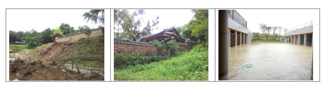 2012년 태풍 산바의 피해사례(서백당, 성산서당, 양동문화원)