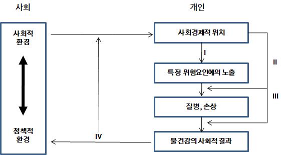 〔그림 3-12〕 질병의 사회적 생산 모델