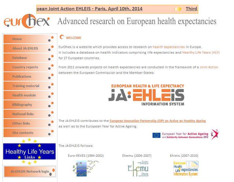 〔그림 4-21〕 EU의 건강수명 정보시스템 EurOhex