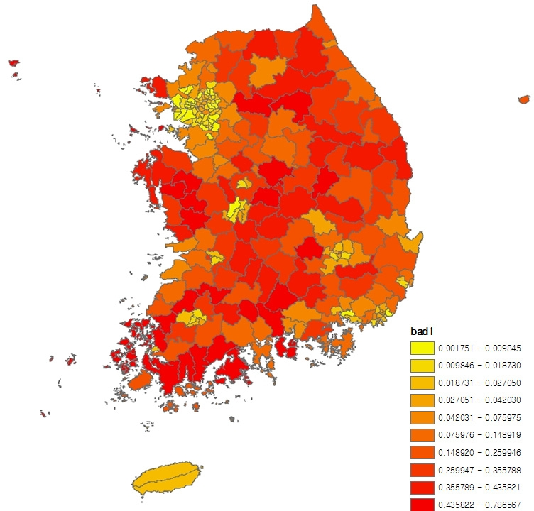 〔그림 5-6〕 시군구별 낙후된 주거환경 비율의 10분위 분포