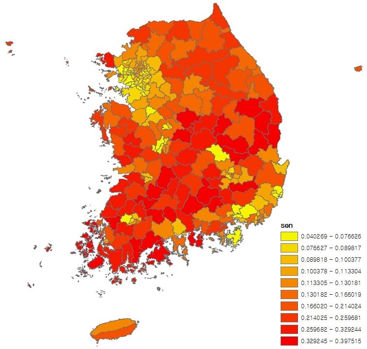 〔그림 5-7〕 시군구별 노인 인구 비율의 10분위 분포