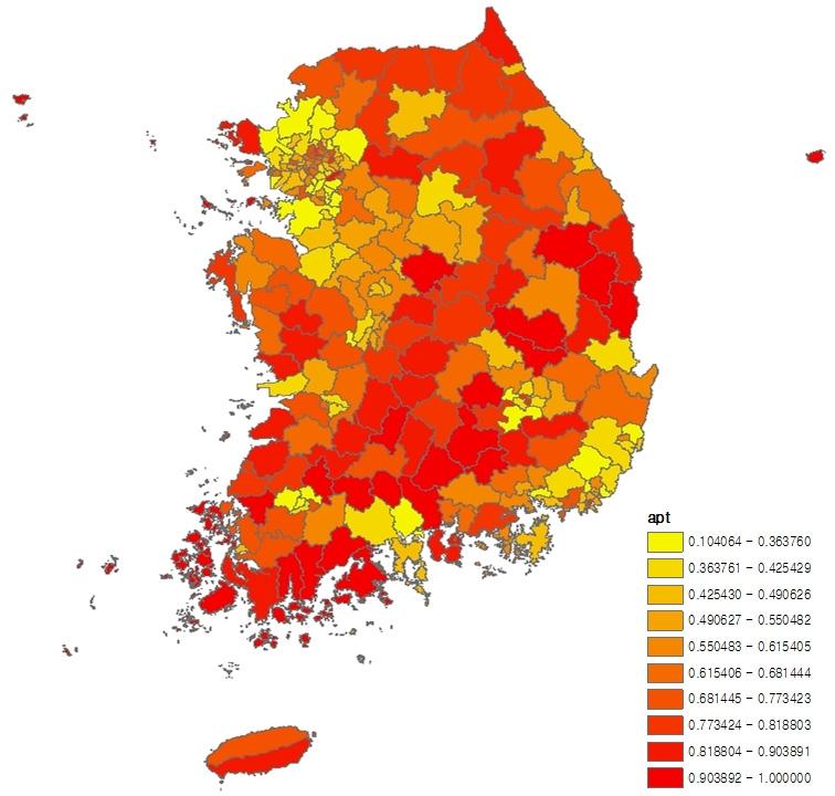 〔그림 5-10〕 시군구별 아파트 미거주 비율의 10분위 분포