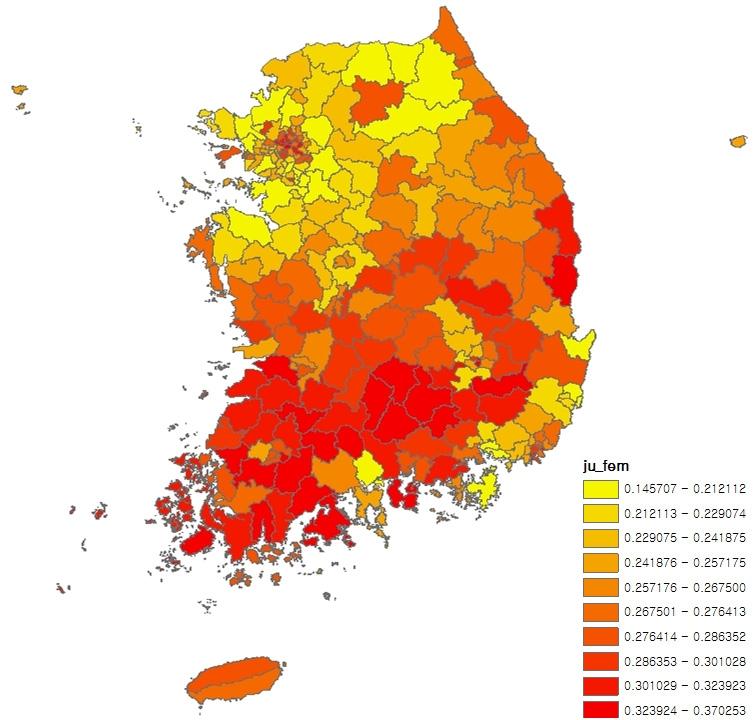〔그림 5-11〕 시군구별 여성 가구주 비율의 10분위 분포
