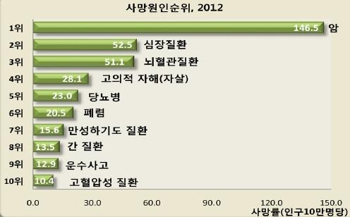 〔그림 5-47〕 2012년 국내 사망원인순위