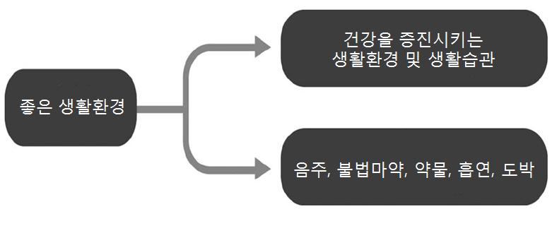 〔그림 2-5〕 좋은 생활환경이 건강에 미치는 영향